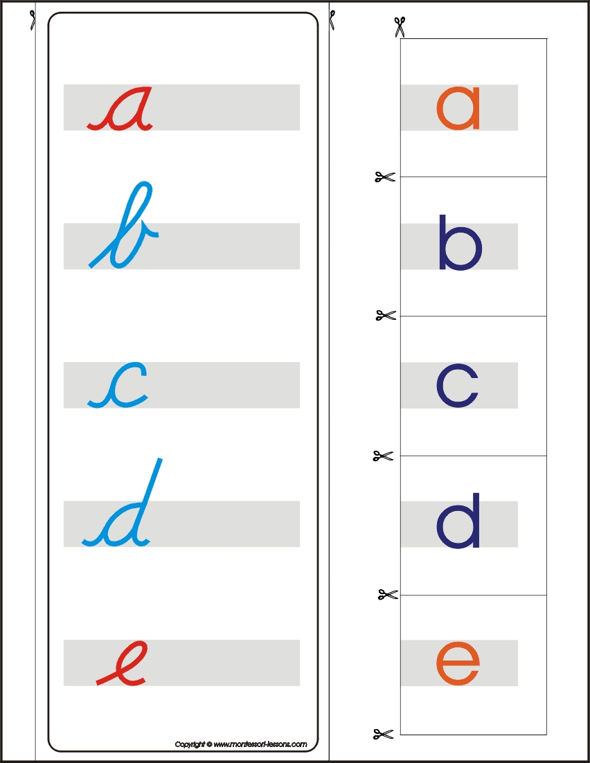Montessori Lessons – Matching lower cursive and print letters A Z